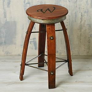 Personalized Reclaimed Swivel Wine Barrel Stave Stool (Single