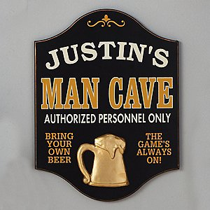Personalized Man Cave Sign with Beer Relief