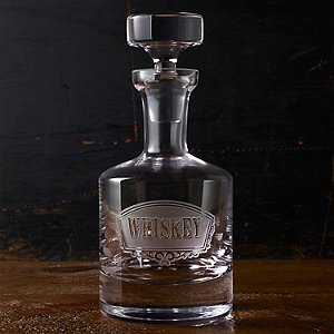Old Fashioned Deep Etched Whiskey Decanter