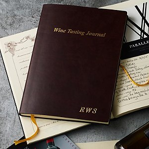 Monogrammed Bonded Leather Wine Tasting Journal