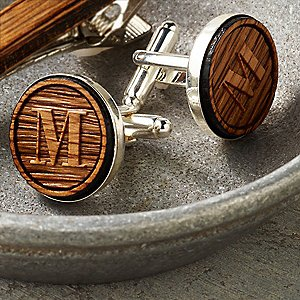 Personalized Reclaimed Bourbon Barrel Cufflinks