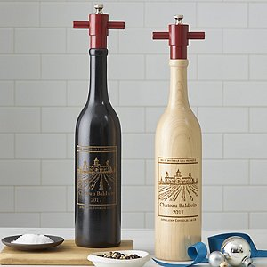 Personalized Ebony Wine Bottle Salt and Pepper Mill
