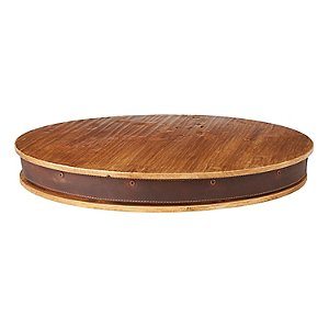 Heritage Wine Barrel Lazy Susan with Leather Trim