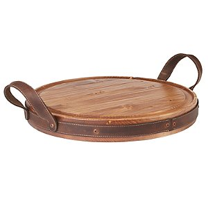 Heritage Round Tray with Leather Trim