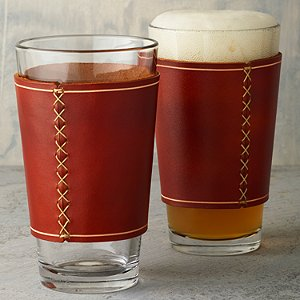 Beer Glasses with Leather Wrap (Set of 2)