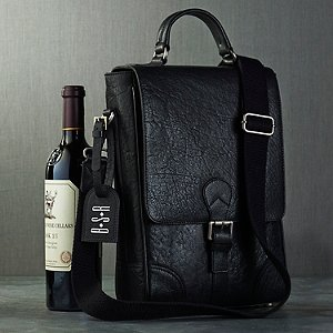 Personalized 2-Bottle Leather Wine Bag