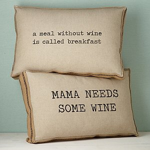 Wine-Themed Accent Pillows Mama and Breakfast (Set of