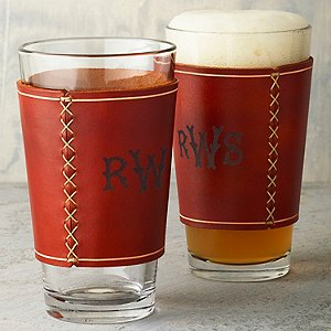 Beer Glasses with Monogrammed Leather Wrap (Set of