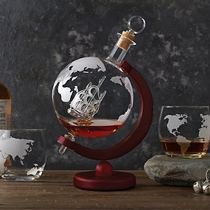 Globe Whiskey Decanter with Antique Ship & Glasses