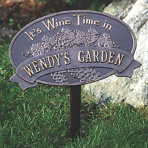 Personalized 'Wine Time' Garden Plaque