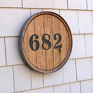 Barrel Head House Marker with Wall Hanger