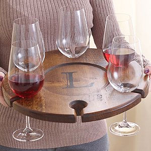 Personalized Wine Glass Carrier with 6 Fusion Table