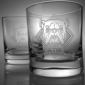 Monogrammed Etched Bulldog Double-Old Fashioned Glasses (Set of