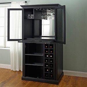 firenze wine and spirits armoire bar nero - Wine Credenza