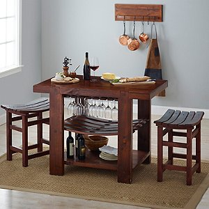 Napa Valley Kitchen Island and Stool Set (Pine