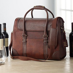 6-Bottle Leather Weekender Wine Bag with Monogrammed Hang