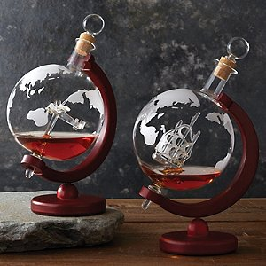 Etched Globe Whiskey Decanter Set with Antique Ship