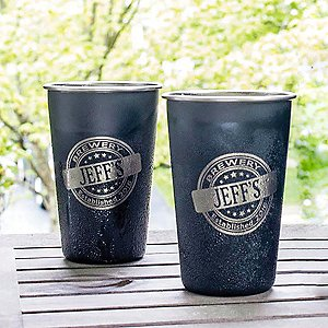 Personalized Black Stainless Steel Pint Glasses (Set of