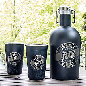 Personalized Black Stainless Steel Growler and Pint Glasses