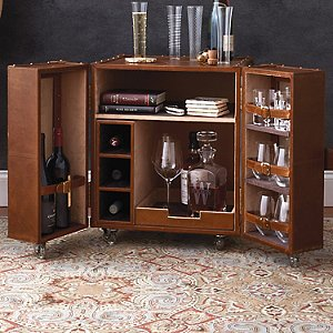 Leather Trunk Bar End Table