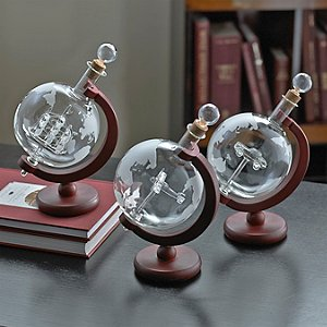Globe Whiskey Decanters (Set of 3)