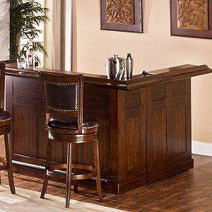 Classic Wrap Around Home Bar (Brown Cherry Finish)