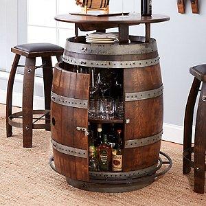 Vintage Oak Wine Barrel Bistro Table & Bar