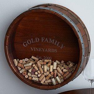 Personalized Reclaimed Wine Barrel Head Cork Collectors Display