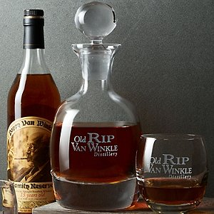 Old Rip Van Winkle Bourbon Decanter and Glass