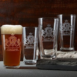 Personalized Family Crest Beer Glasses (Set of 4)