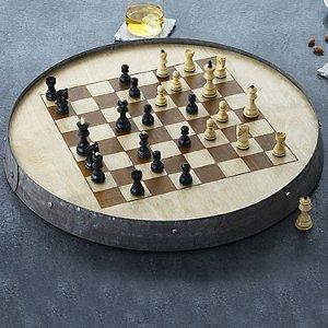 Reclaimed Barrel Hoop Chess Set with Monogrammed Storage