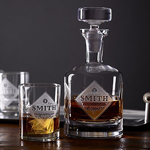 Personalized Etched Premium Spirits Whiskey Decanter and Glasses