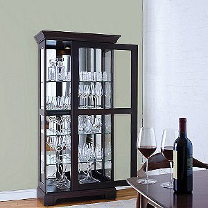 Glassware Display Curio Cabinet with Sliding Door & Custom Wine Cellar Cabinet - Wine Enthusiast