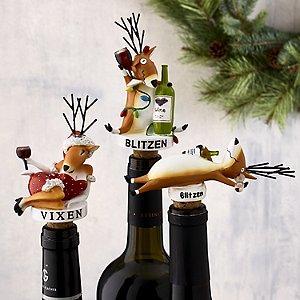 Blitzen and Vixen Bottle Stoppers (Set of 3)