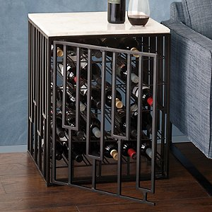 Marble-Top Wine Storage End Table
