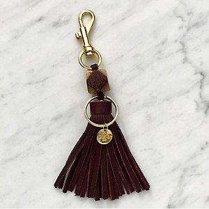 Wine Barrel And Leather Tassel Keychain