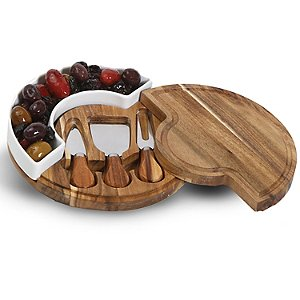 Acacia Wood Cheese Board and Knife Set