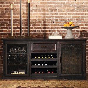 Montagny Brass Mesh Credenza With One Wine Refrigerator