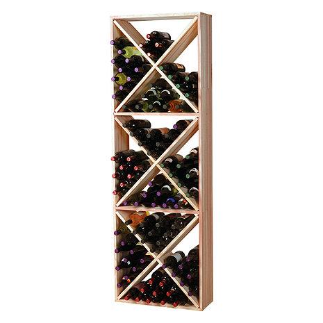Redwood Modular Wine Rack Kit - 132 Bottle Solid Diamond Cube