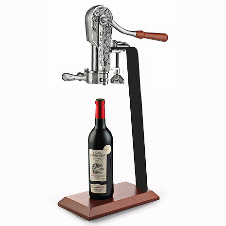 Countertop Wine Opener : Legacy Corkscrew with Birch Stand (Antique Pewter) - Wine Enthusiast