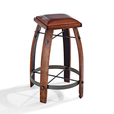 Vintage Oak Wine Barrel Bar Stool with Leather Seat