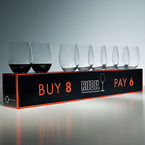 Riedel 'O' Buy 8 Pay 6 Cabernet/Merlot Stemless Wine Glasses (Set of 8)