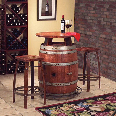 vintage oak wine barrel bistro table bar stools wine. Black Bedroom Furniture Sets. Home Design Ideas