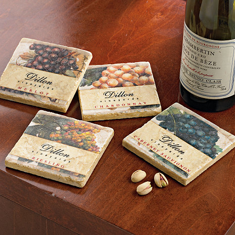 Personalized Vineyard Coasters (Set of 4)