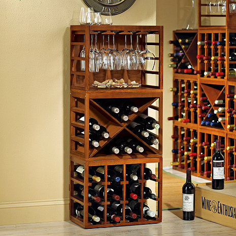 Cube-Stack Wine Bottle & Stemware Rack Set (Walnut Stain)