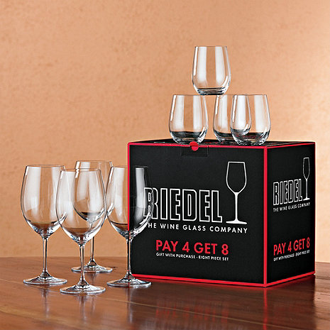 Riedel Vinum Bordeaux Wine Glasses Plus 4 Bonus 'O' Viognier Glasses (Set of 8)