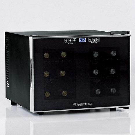 Wine Enthusiast Silent 12 Bottle Dual Zone Touchscreen Wine Refrigerator