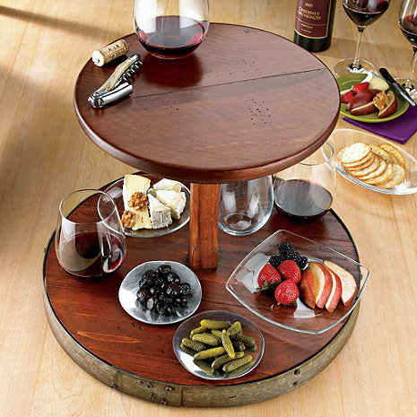 2 Tier Wine Barrel Lazy Susan Wine Enthusiast