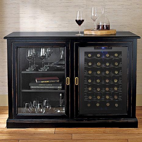 Siena Mezzo Wine Credenza (Nero) with Wine Refrigerator