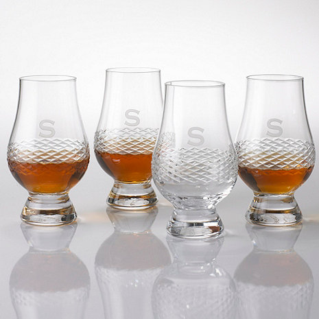 Personalized Glencairn Whiskey Glasses with Diamond Band (Set of 4)